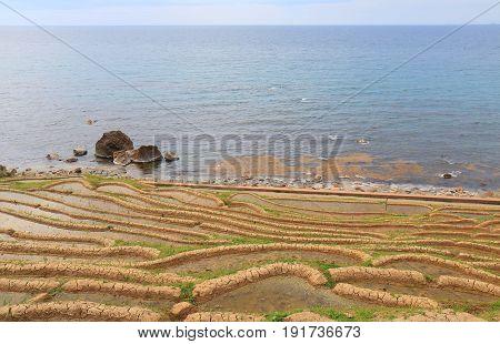 Senmaida Rice paddy terrace Wajima Ishikawa Japan. Senmaida is  the valley of 1,000 rice paddies in Wajima Japan.