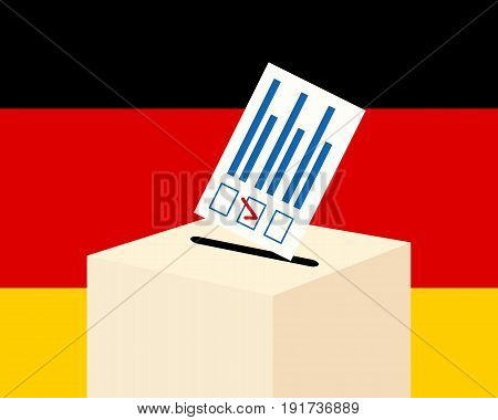 Election in Germany concept. Voting paper and a ballot box with german flag on a background, flat design, vector illustration