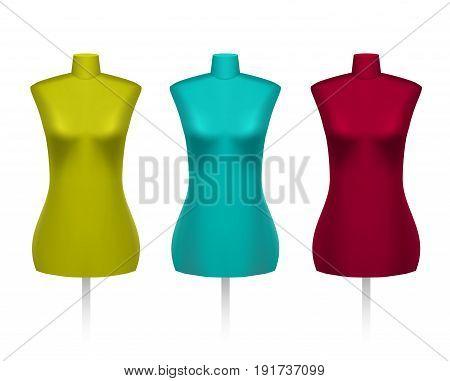 Set of female vintage dressmakers tailors dummy mannequins.