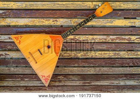 Close up traditional Russian folk instrument balalika