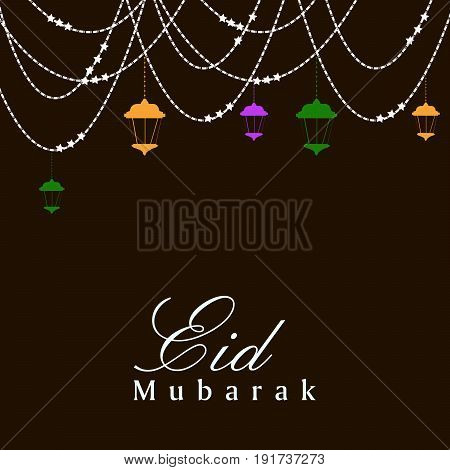 illustration of lamps and decoration with eid mubarak text on occasion of Muslim festival Eid