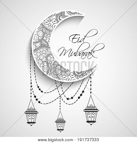 illustration of Moon and hanging lampsó with eid mubarak text on occasion of Muslim festival Eid