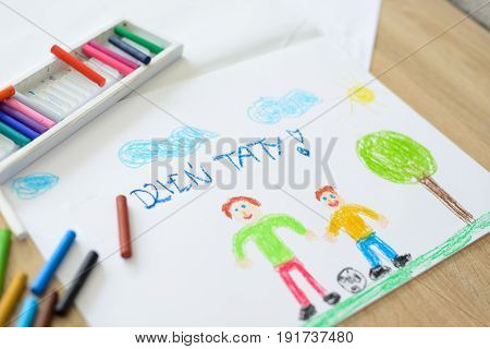 Color Children Drawing: Father's Day Card With Polish Words