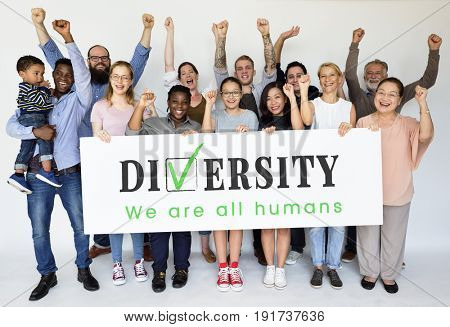 Happiness group of people holding banner of diversity human races