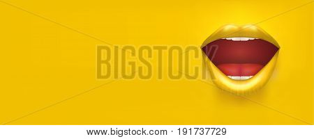 Horizontal Banner with woman lips. Female mouth on Yellow Background. Party Invitation and flyers. Sexual woman. Vector Illustration.