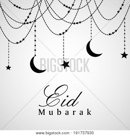 illustration of hanging stars moon and decoration with eid mubarak text on occasion of Muslim festival Eid