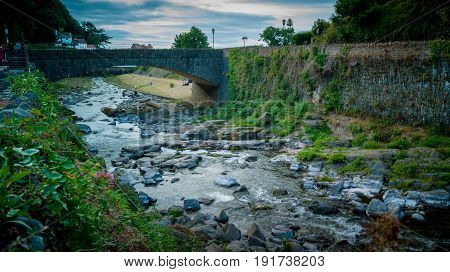 Stone Bridge Over The East Lyn River Cascading Down The Gorge Lynmouth North Devon England