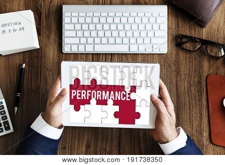 Performance word puzzle pieces graphic