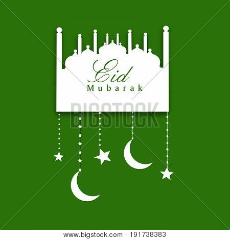 illustration of Mosque and hanging stars moon with eid mubarak text on the occasion of Muslim festival Eid