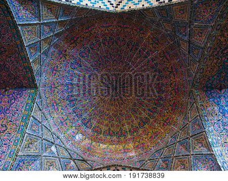 Mosaic ceiling of Nasir ol Molk Mosque - 27-02-2009 Shiraz Iran