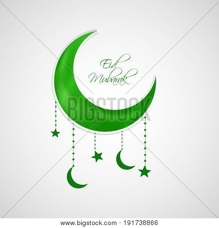 illustration of moon and hanging stars moon with eid mubarak text on occasion of Muslim festival Eid