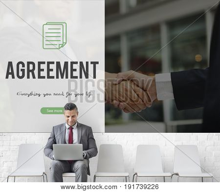 Agreement word on business handshake background