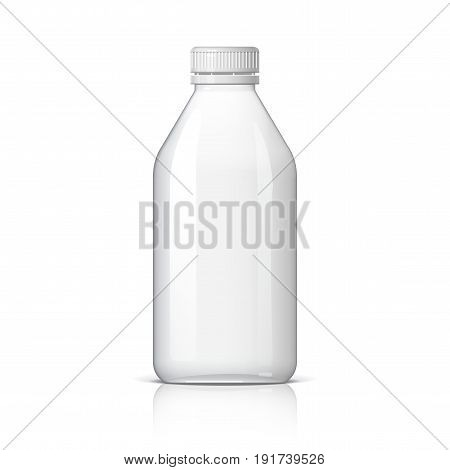 Realistic plastic bottle for water or milk and other liquids. Mock Up Template. Vector illustration
