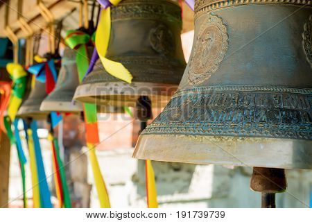 Close-up of orthodox bells during Easter celebration