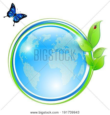 Ecological symbol - shiny abstract globe and green leaves with water drops ladybug and blue butterfly. Vector illustration.