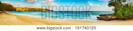 Sandy tropical beach at sunny day. Mauritius. Panorama