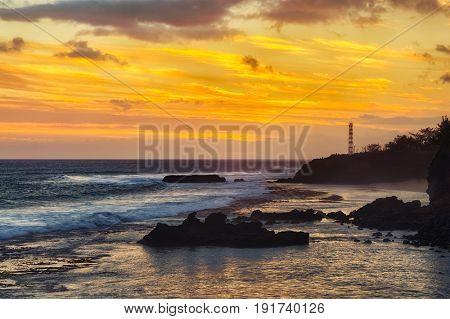 Coastal view at sunset. Mauritius.