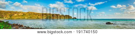 View of a sea at day time. Mauritius island. Panorama