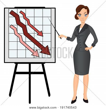 Angry sad unhappy manager office worker business woman with graph down. Financial crisis. Vector cartoon illustration