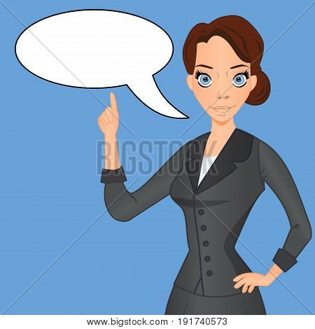 Woman in business suit with speech bubble speech balloon index finger raised up. Important information comment advice idea vector illustration.