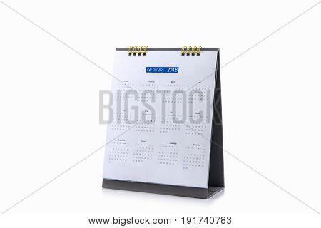 White paper desk spiral calendar 2018 on white background.