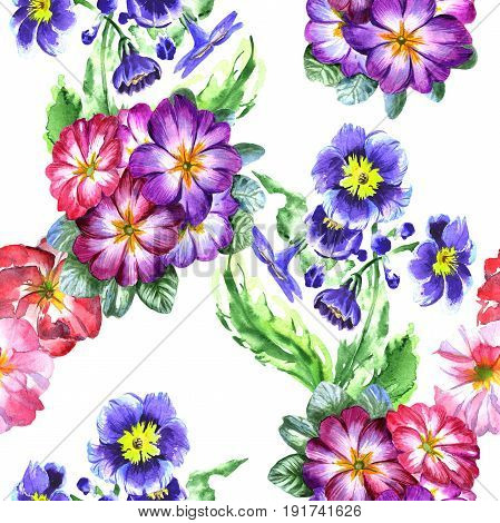 Wildflower viola flower pattern in a watercolor style isolated. Full name of the plant: viola, violet. Aquarelle wild flower for background, texture, wrapper pattern, frame or border.