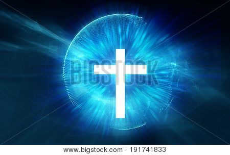 White  Cross On Blue Ray Light Background
