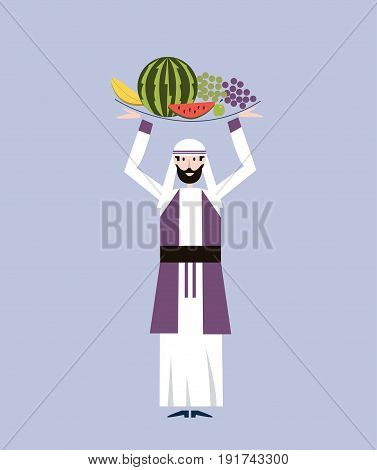 Arab merchant man in national clothes is holding a tray with fruit over his head. Vector illustration.