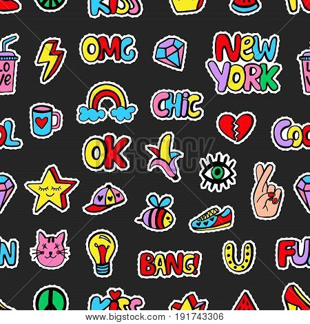 Seamless pattern with fashionable patch badges set, on black background. Comic stickers, pins, patches doodle in cartoon pop art 80s-90s style. Vector illustration