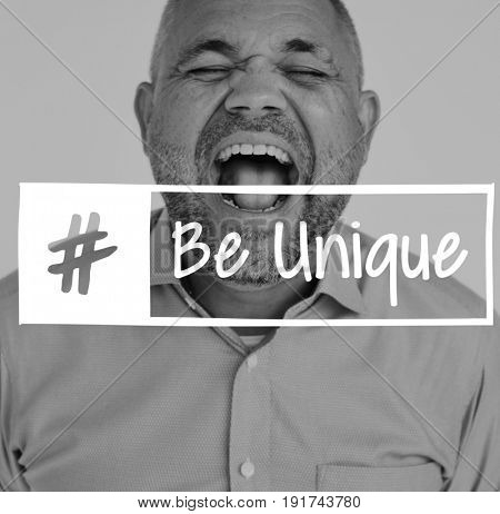 Be Unique Lifestyle Motivation Word with Shouting Man Background