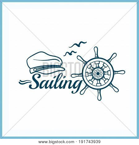 Sailing. Blue badge on white background. Can be used for labels or banners or posters or prints for t shirts for sailing sport. Vector illustration.
