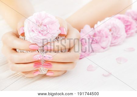 Pink Manicure With Fresh Tea Rose, White Ball Of Yarn