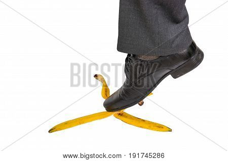Businessman Stepping On Banana Peel - Business Risk Concept