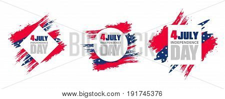Colorful modern frame for independence day USA 4th july. Set. Dynamic design elements for a flyer sale brochures presentations party etc. Vector illustration.