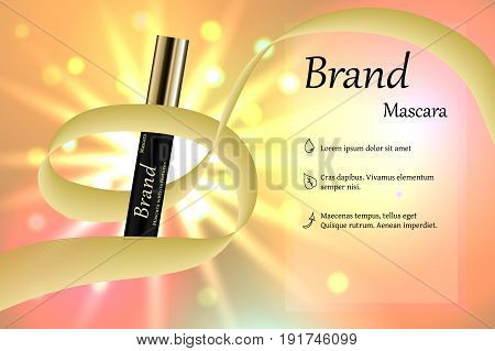 Black mascara with eyebrow brush on the delicate background of pastel tones with light and bright spots with a ribbon around it. Banner, poster, advertising.