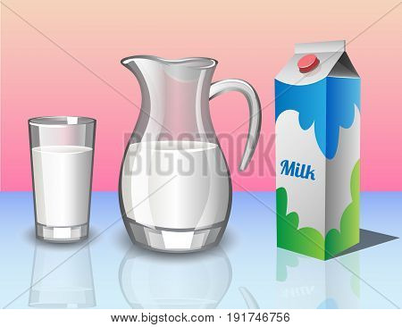 Different set of containers for milk. Vector illustration