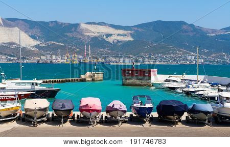 Novorossiysk, Russia - august 22, 2015: Boats parking - Different small boats on the mooring.