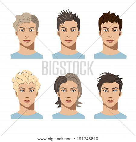 Set different hair style young men portraits isolated vector illustrations