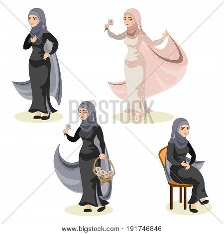 Diverse set of arab woman. Woman muslim vector illustration