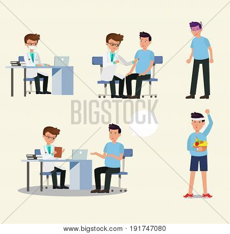 Doctor and patient character activity set vector.doctor and patient in medical activity injection examination operation pharmacy and health care. Flat design.