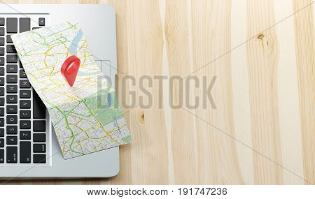 Geographic pin on map with computer, 3d render illustration
