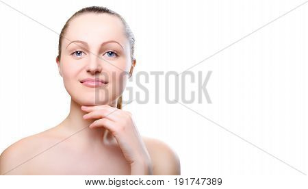 Portrait Of Girl With Nude Make-up With Hands On Chin Isolated On White Background, Free Space For T