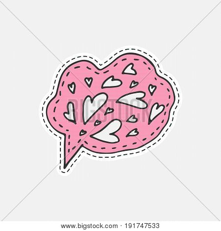 Isolated vector illustration in patch style. Speaking cloud hand drawn sticker with hearts