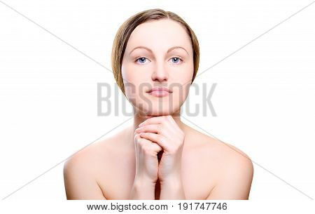 Portrait Of Girl With Nude Make-up With Hands On Chin Isolated On White Background. Girl With Clean