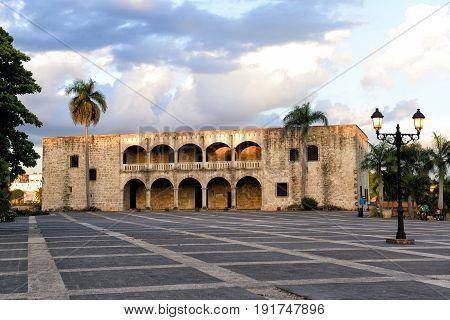 Santo Domingo Dominican Republic Plaza Espana Alcazar de Colon in the sunset Colonial Zone UNESCO World Heritage Site