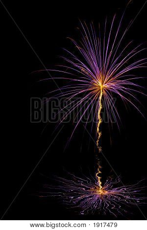 Purple burst with orange center and tail trailing below over water poster