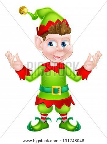 An illustration of a cute happy cartoon Christmas Elf or one of Santa s Christmas helpers