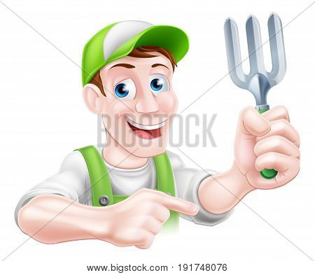 A cartoon gardener character holding a garden fork and pointing
