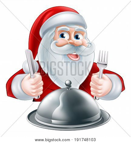 A Christmas cartoon illustration of Santa Claus with knife and fork and silver platter