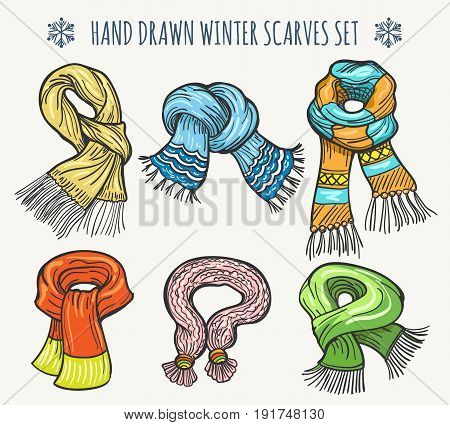 Woolen fashion hand drawn scarves isolated on white background. Christmas vector winter knitted striped scarf set